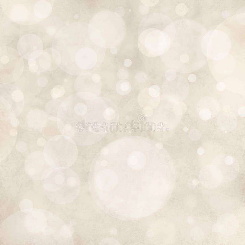 Weißer Hintergrund beleuchtet, die bokeh Kreisformen, die wie fallender Schnee im Himmel, Blasenhintergrunddesign überlagert werd stockbild