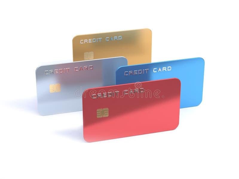 weißer Hintergrund 3d der Kreditkarte mit 4 leeren rotes blaues silbernes Goldübertragen vektor abbildung