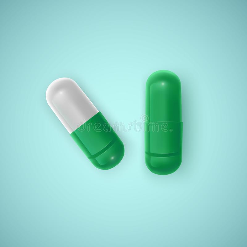 Weißer Hintergrund der realistischen Kapsel, Medizin, grüne Tablette oder Pille, Vektorillustration vektor abbildung