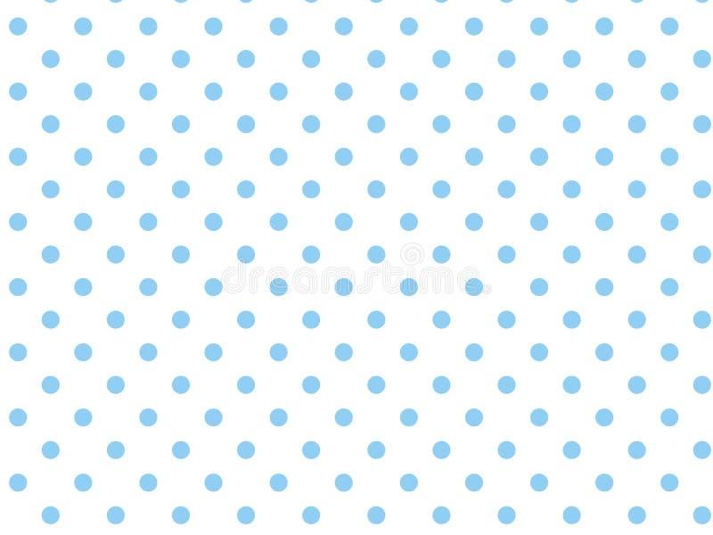 Weißer Hintergrund des VektorEps8 mit blauen Polka-Punkten stock abbildung