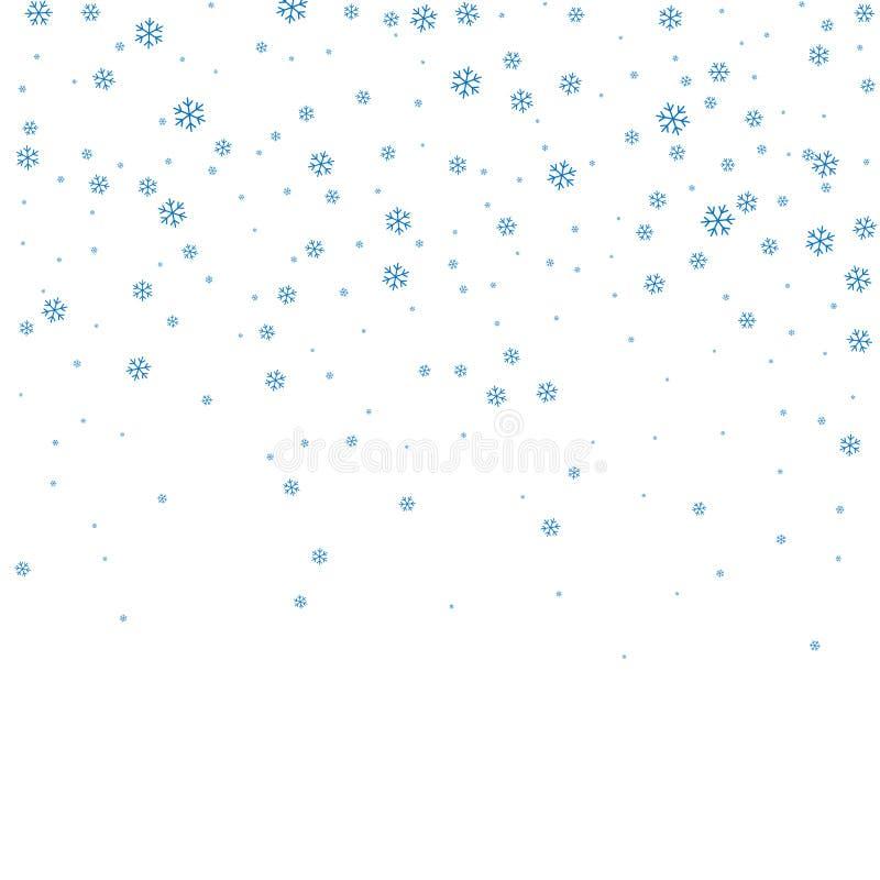 Weißer Hintergrund des Weihnachtswinters mit Weihnachtsfallenden Schneeflocken Blauer eleganter Schneefälle Weihnachtshintergrund lizenzfreie abbildung