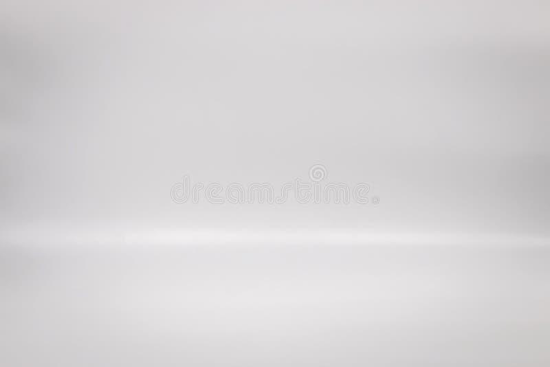 Weißer Hintergrund für Ihr Produkt Studiobodenhintergrund Graue Innenszene des freien Raumes stockbild