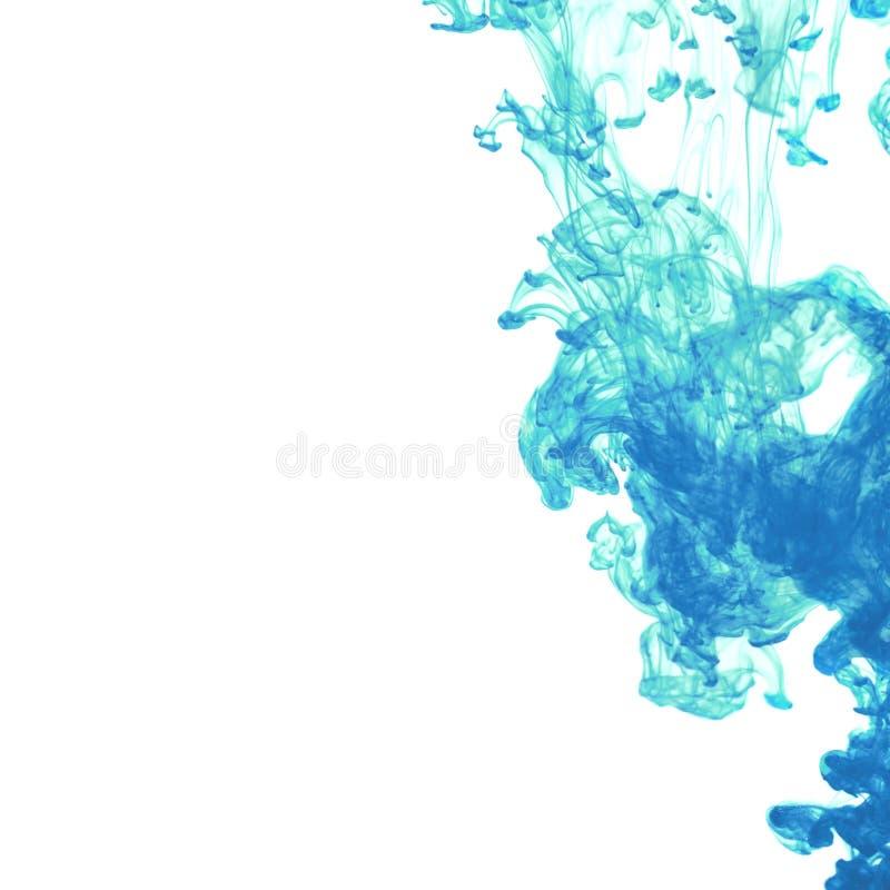 Weißer Hintergrund mit blauer Tinte im Wasser vektor abbildung