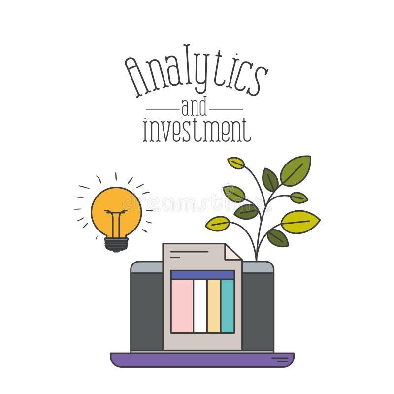 Weißer Hintergrund mit buntem Laptop und Blatt entwerfen Grafikanalytik und -investition lizenzfreie abbildung