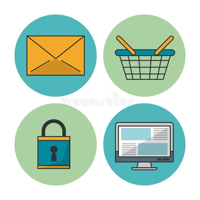 Weißer Hintergrund mit bunten Kreisrahmen mit Ikonen des E-Commerce und des Einkaufens als Postumschlag und -korb und vektor abbildung