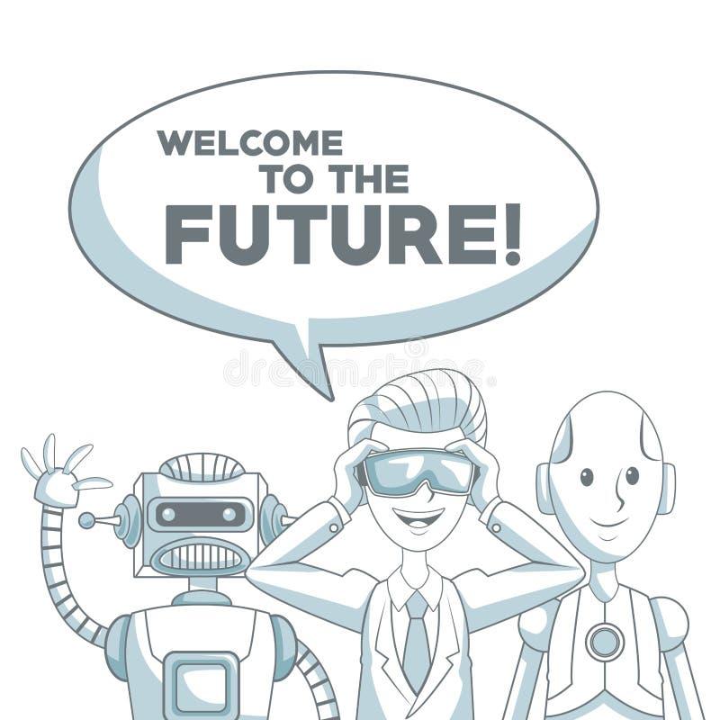 Weißer Hintergrund mit dem Schattenbildfarbabschnittschattieren des Satzmenschen und -roboter mit Dialogfeld-Textwillkommen zu stock abbildung