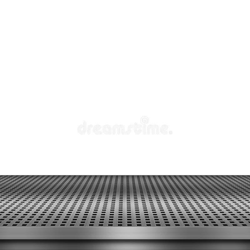 Weißer Hintergrund mit leerer Metallplattform vektor abbildung