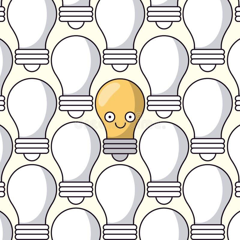 Weißer Hintergrund mit Muster von Glühlampen und nur einer von Glühlampe belebt lizenzfreie abbildung