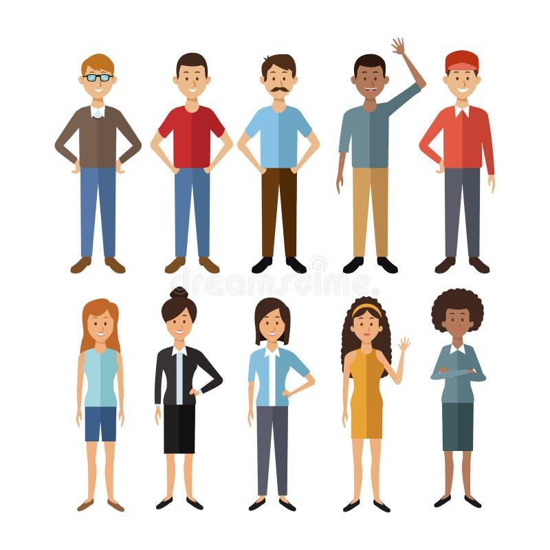 Weißer Hintergrund mit vollen Körpergruppenleuten der Weltverschiedenartigkeit lizenzfreie abbildung