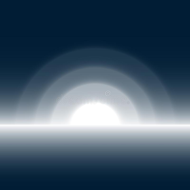 Weißer Horizont und der Mond-Licht-Hintergrund stockfoto