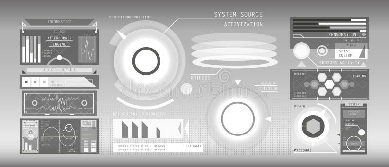 Weißer HUD-Elementsatz lizenzfreies stockbild