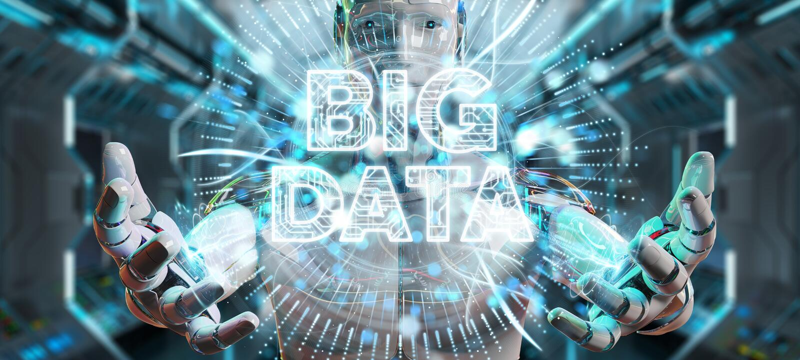 Weißer Humanoid unter Verwendung der digitalen Wiedergabe des Hologramms 3D der großen Daten lizenzfreie abbildung