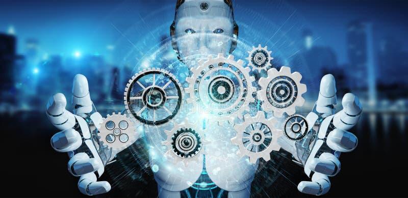 Weißer Humanoidroboter unter Verwendung der digitalen Wiedergabe der Gänge 3D vektor abbildung