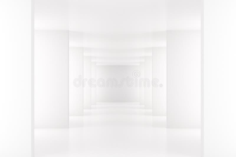 Weißer Innenraum mit langem Korridor im modernen Raum vektor abbildung