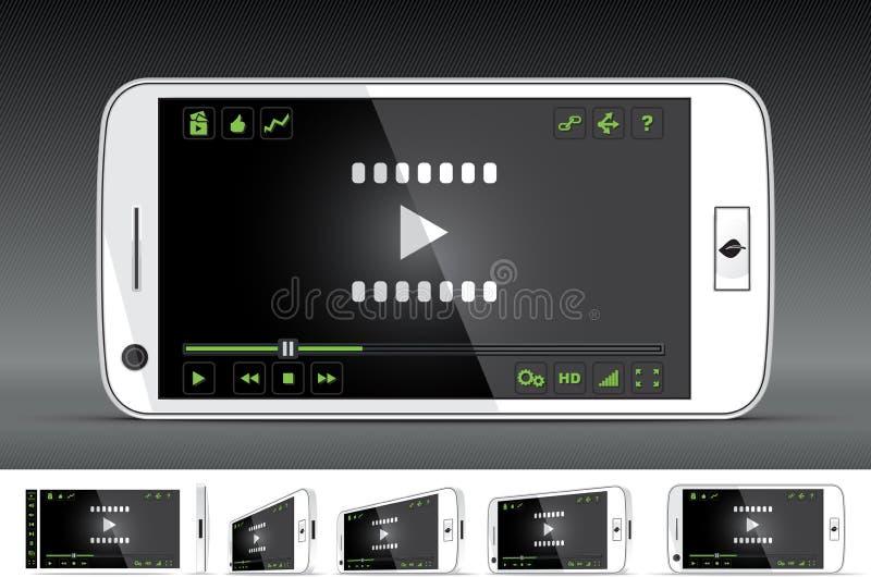 Weißer intelligenter Telefon-Video-Player stock abbildung
