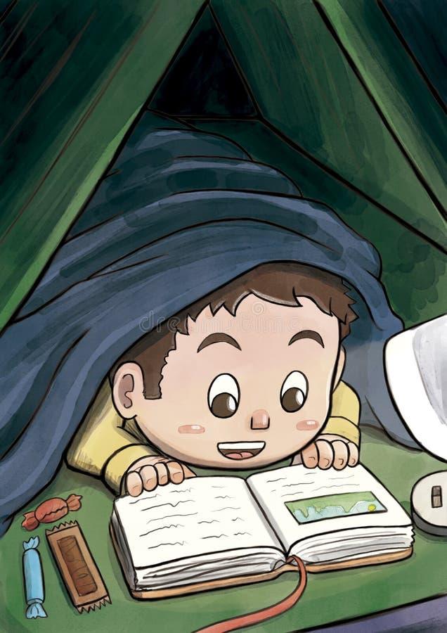 Weißer Junge, der unter der umfassenden Lesung ein Bilderbuch versteckt stock abbildung