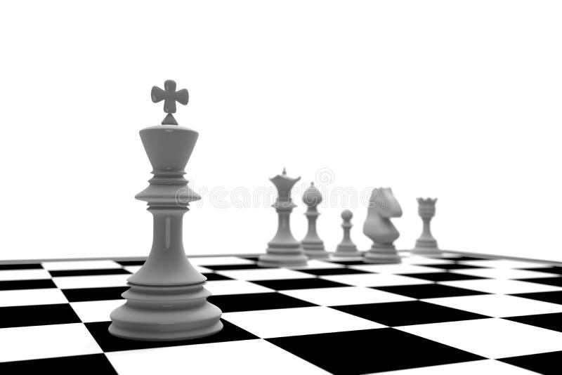 Weißer König im Schachspiel mit Schachbrett auf weißem Hintergrund lizenzfreie abbildung