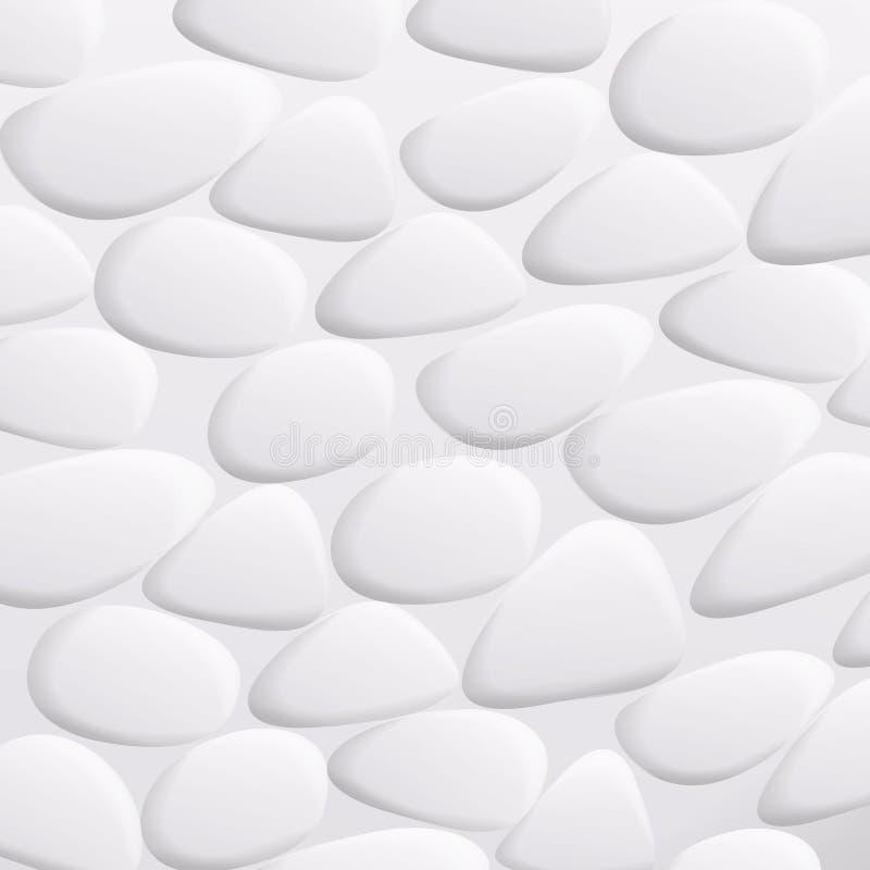 Weißer Kiesel-Vektor Natürliche realistische Steine 3d von verschiedenen Formen Seefelsen-Kiesel lokalisiert auf weißem Hintergru vektor abbildung