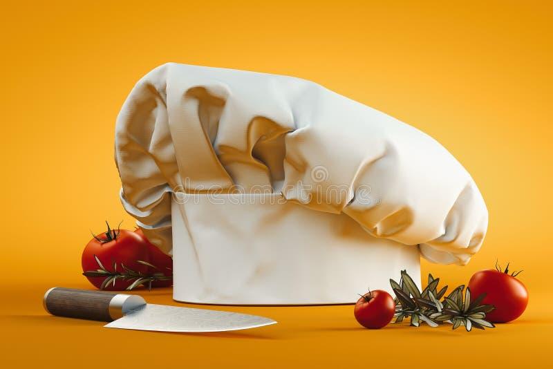 Weißer Koch Hut oder Toque auf gelbem Hintergrund Wiedergabe 3d lizenzfreie abbildung