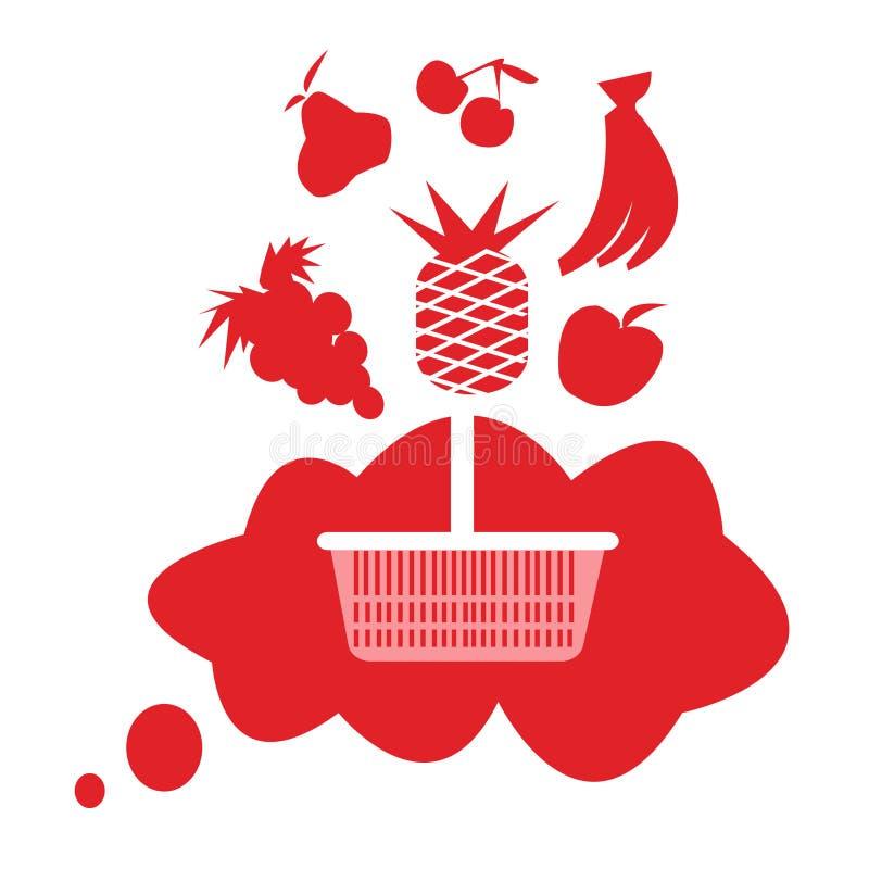 Weißer Korb auf rotem Hintergrund lizenzfreie abbildung