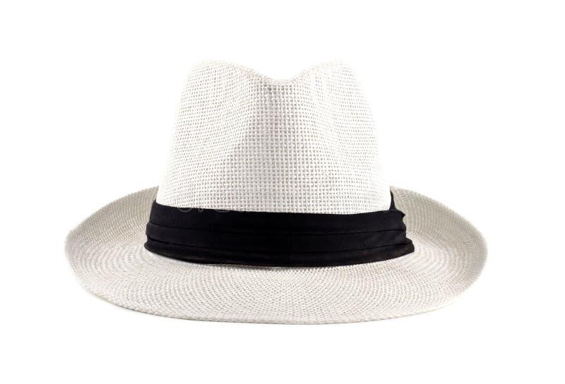 Weißer kubanischer Hut getrennte Vorderansicht stockfoto