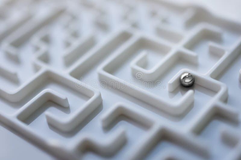 Weißer Labyrinth- und Metallball, komplexes Lösen- von Problemenkonzept lizenzfreie stockfotografie