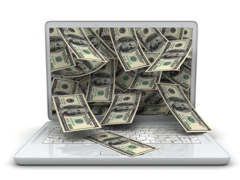 Weißer Laptop und Geld lizenzfreies stockbild