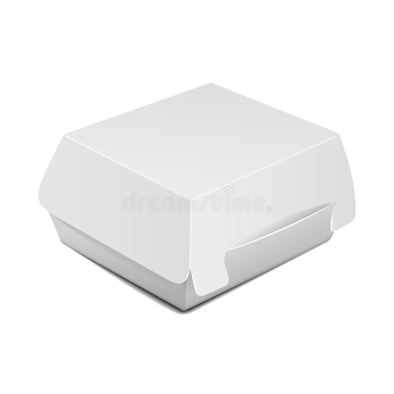 Weißer Lebensmittelkasten, verpackend für Burger, Mittagessen, Schnellimbiß, Sandwich Vektorproduktpaket auf weißem Hintergrund lizenzfreie abbildung