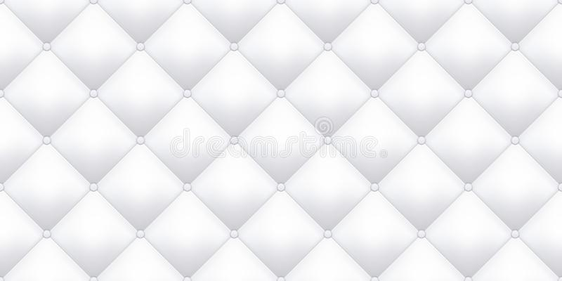 Weißer Lederpolsterungsbeschaffenheits-Musterhintergrund Nahtloses Muster der Vektorweinlesesofalederpolsterungs-Knöpfe vektor abbildung