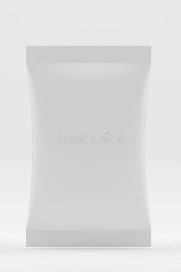 Weißer leerer Folien-Lebensmittel Doy-Satz stehen oben Beutels-Verpackung Modell-Schablone bereit zu Ihrem Design Wiedergabe 3d lizenzfreie abbildung