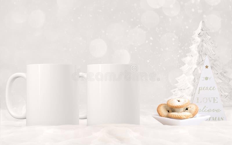 2 weißer leerer Kaffeetassen Weihnachtsmotivspott oben lizenzfreies stockfoto