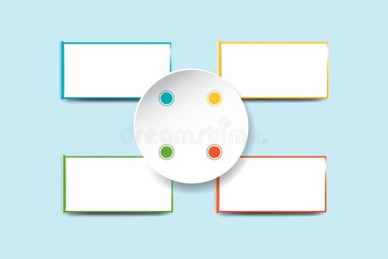 Weißer leerer Kreis in der Mitte mit vier weißen Rechtecken mit vektor abbildung