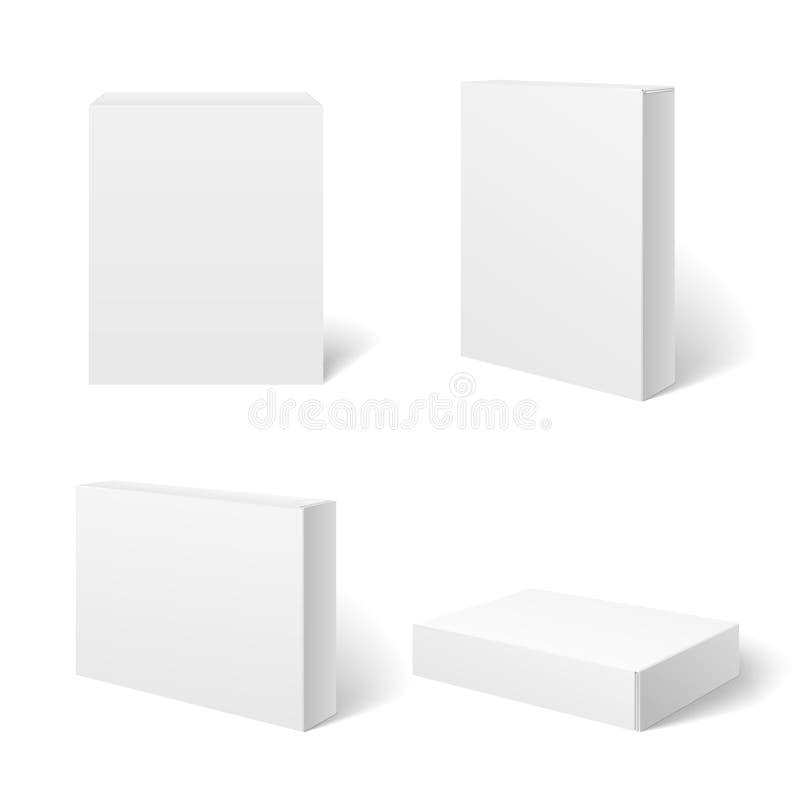 Weißer leerer Papppaketkasten in den verschiedenen Positionen Rand der Farbband-, Lorbeer- und Eichenblätter vektor abbildung