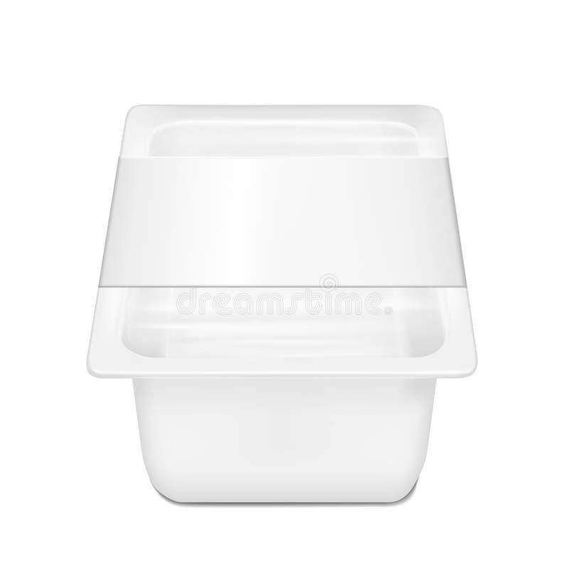 Weißer leerer Plastikbehälter für Käse Verpackung für Fleisch, Fische und Gemüse stock abbildung
