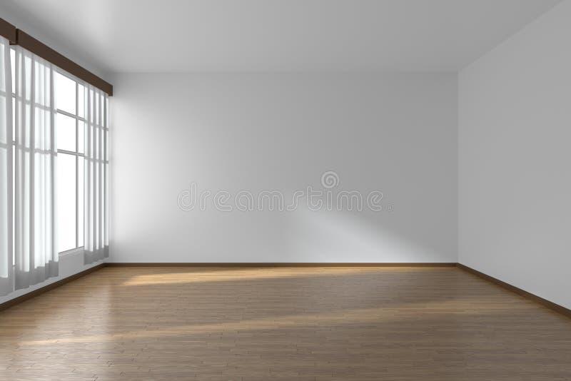 Weißer leerer Raum mit flachen Wänden, Parkettboden und Fenster vektor abbildung