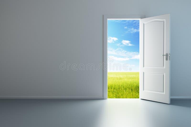 Weißer leerer Raum mit geöffneter Tür lizenzfreie abbildung