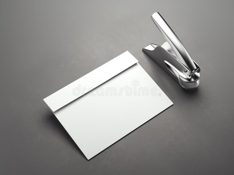 Weißer leerer Umschlag mit Metallstempelmaschine Wiedergabe 3d lizenzfreie abbildung