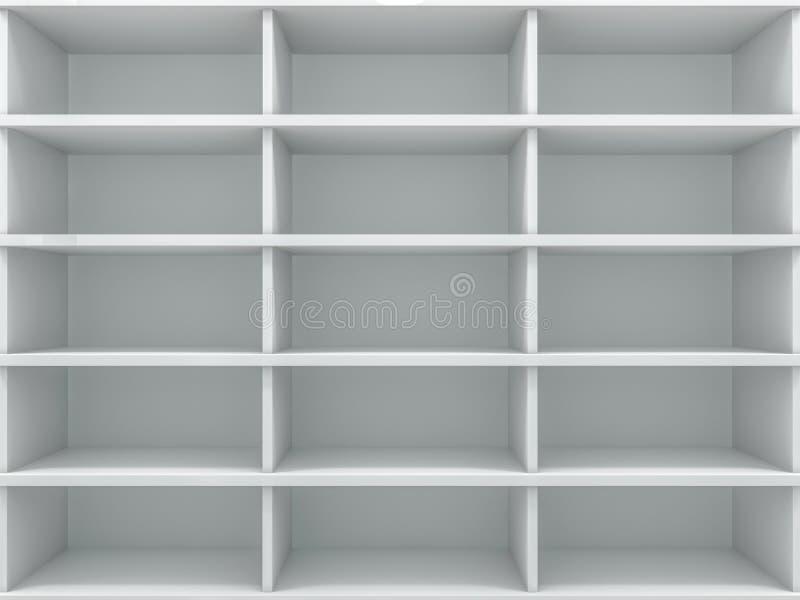 Weißer leerer Wandschrank Ein Schrank mit Regalen 3d stock abbildung