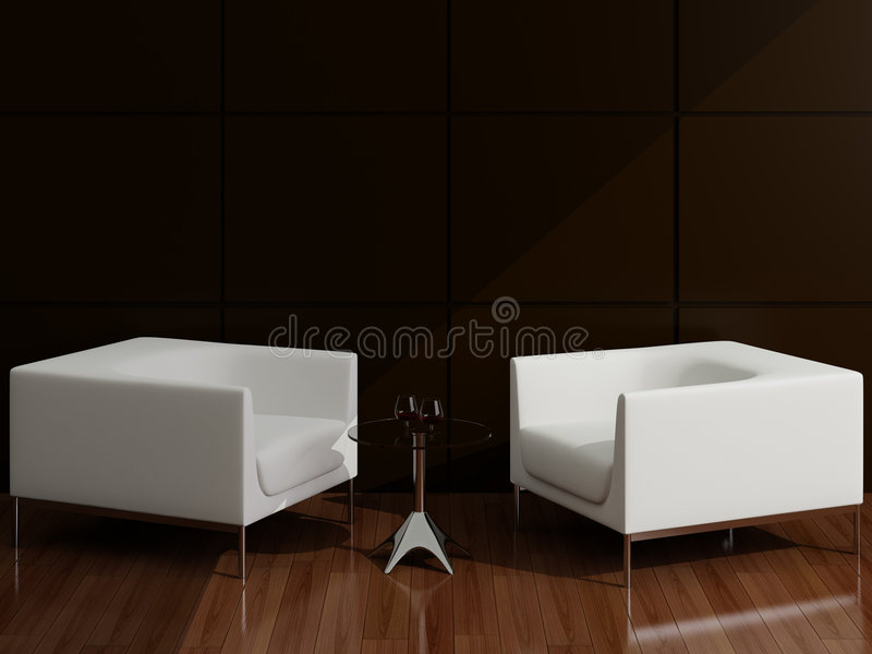 Weißer Lehnsessel in einem Salon lizenzfreie abbildung