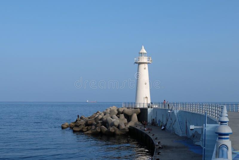 Weißer Leuchtturm in Busan Südkorea lizenzfreie stockfotografie