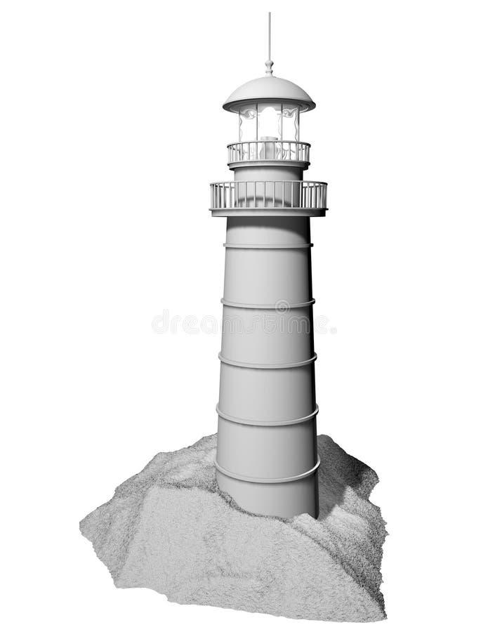 Weißer Leuchtturm getrennt stock abbildung