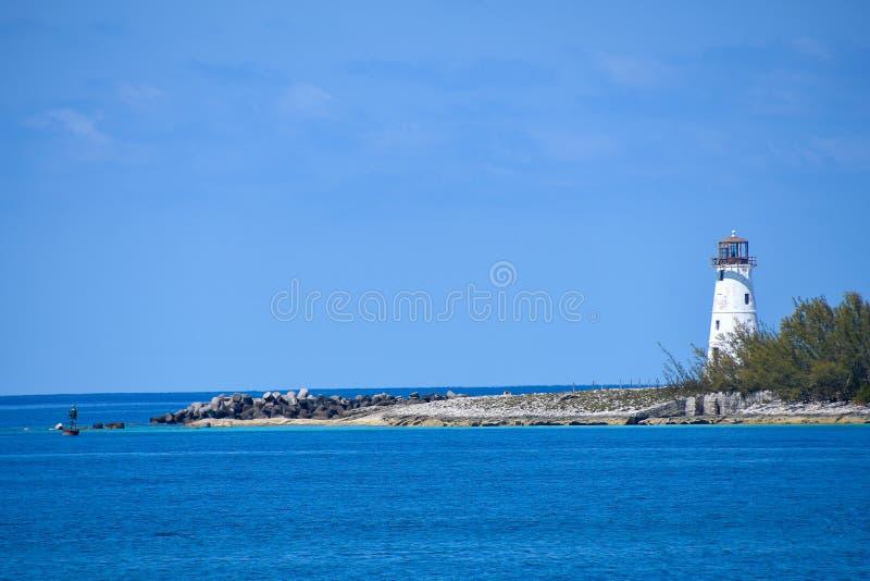 Weißer Leuchtturm in Nassau Bahamas lizenzfreie stockfotografie