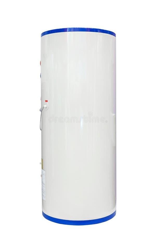 Weißer Luftquellwärmepumpe-Warmwasserbereiter lokalisiert auf einem weißen Hintergrund einschließlich Beschneidungspfad stockfoto