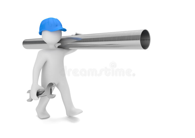 Weißer Männchen-Klempner Pipe Stock Abbildung - Illustration von klempner,  pipe: 81782379