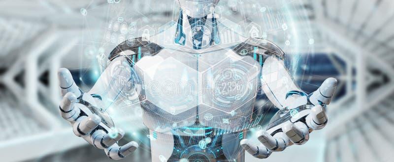 Weißer männlicher Cyborg, der digitale Wiedergabe der Diagrammschnittstelle 3D verwendet lizenzfreie abbildung