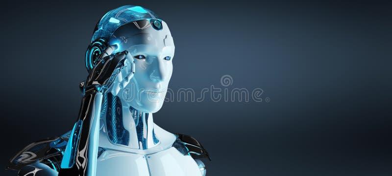 Weißer männlicher Cyborg, der seine Wiedergabe des Kopfes 3D denkt und berührt stock abbildung