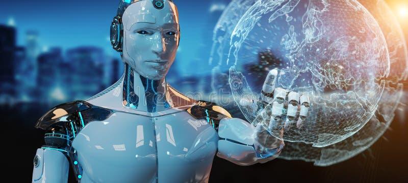 Weißer männlicher Roboter unter Verwendung der digitalen Wiedergabe der Schirmschnittstelle 3D vektor abbildung