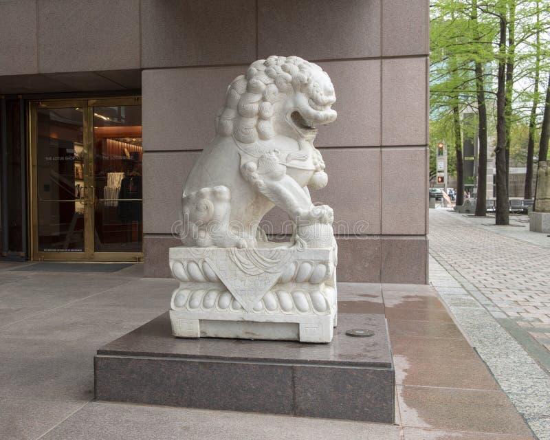 Weißer männlicher Wächtermarmorierunglöwe am Eingang zum Krähen-Museum der asiatischen Kunst in im Stadtzentrum gelegenem Dallas, stockfotos