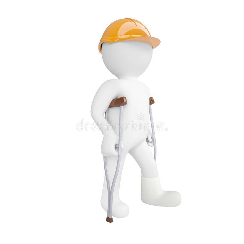 weißer Mann 3d in einem Sturzhelm und auf Krücken stock abbildung