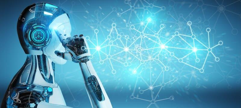 Weißer Mann Cyborg, der Wiedergabe der Digitalnetzverbindung 3D verwendet vektor abbildung